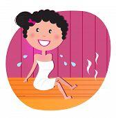 Salud y spa: feliz sonriente mujer relajarse en la sauna de infrarrojos