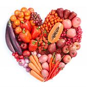 stock photo of heart shape  - heart shape form by various vegetables and fruits - JPG