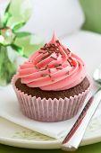 foto of sponge-cake  - Pink cupcake - JPG