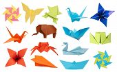 pic of orange frog  - Origami paper toys collection isolated on white background - JPG