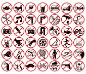 Set of editable vector icons of forbidden activities