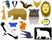 Auswahl an Tiermotiven Vektor und Piktogramme