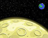 Ilustração em vetor editável da lua, terra e espaço
