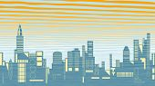 Editable vector illustration of a city skyline