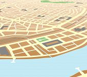 Editable vector map of a generic city at an angled perspective