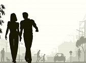 Editable vector silhouette of a couple walking down a street with all silhouette elements as separat
