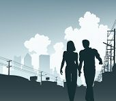 picture of utility pole  - Illustration of a couple walking along an urban street - JPG