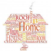 Editable vector illustration of a house made from homely words