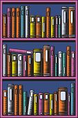 Editable vector illustration of books in a bookcase with all books as separate objects