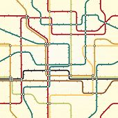 Seamless illustrated tile of a generic subway map