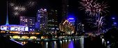 Panorama of Melbourne city, with New Year fireworks