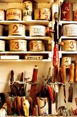 A vintage home handyman's workshop, meticulously organized.