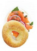 Bagel with smoked salmon, cream cheese, capers and red onion.  Mmmm!