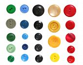 Collection of buttons, well isolated on white.