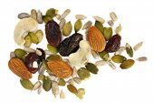 Trail mix - dried fruit and nuts, isolated on white.