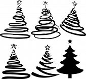Christmas-trees contains fill only. All curves are discoloured. Vector illustration.