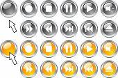 Conjunto de iconos de los medios de comunicación.  Ilustración del vector.