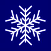 Luminous snowflake on blue. Vector illustration.