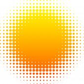 Orange halftone sun. Vector illustration.
