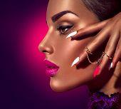 Fashion Beauty Girl. Gorgeous Woman profile Portrait. Stylish Makeup, manicure and accessories. Make poster