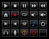 Conjunto de botones de jugador. Vector.