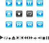 Conjunto de iconos de jugador. Ilustración del vector.