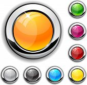 Color metallic buttons. Vector illustration.