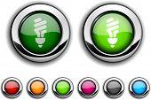 Botones realista de la bombilla fluorescente. Ilustración del vector.