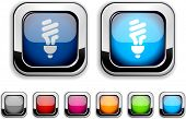 Iconos realistas bombilla fluorescente. Botones vacíos incluidos.