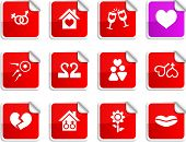Love set of square glossy stickers.