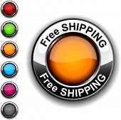 Free shipping realistic button. Vector.