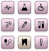 Medical  set of square dim icons.