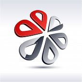 Abstract modern 3d flower symbol. Vector.