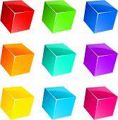 Set of vibrant glossy 3D cubes.