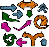 Scribbled color arrows set.