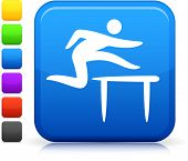 Track And Field icon on square internet button Six color options included.