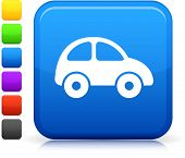 Car icon on square internet button Six color options included.