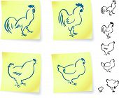rooster and chickens on post it notes original vector illustration 6 color versions included