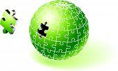 Incomplete Green Globe Puzzle Original Vector Illustration Incomplete Globe Puzzle Ideal for Unity Concept