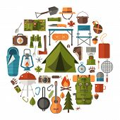 Camping And Hiking Vector Icons poster