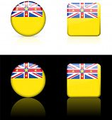niue Flag Buttons on White and Black Background Original Vector Illustration