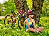 Bikes cycling girl. Girl rides bicycle. Girl in cycling sitting near bicycle. Cycling is good for he poster