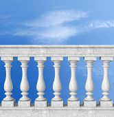 image of balustrade  - stone white  balustrade with pillar on sky background  - JPG