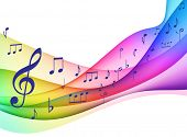 Color Spectrum wave with Musical Notes Original Vector Illustration