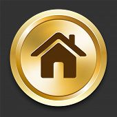 House on Golden Internet Button Original Illustration