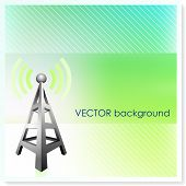Radio Tower on Vector Background Original Illustration