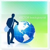 picture of sling bag  - Young Traveler with Globe on Vector Background Original Illustration - JPG