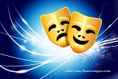 Comedy and Tragedy Masks on Abstract Modern Light Background Original Illustration