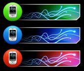 Cell Phone Icon on Mutli Colored Button Set Original Illustration
