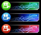 Film-Kamera-Icon auf Tcl/Tk-farbigen Button Set Original Illustration